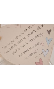 "Wooden Heart plaque ""So we fix our eyes   """