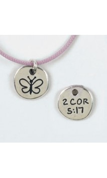 Butterfly / 2 Cor 5:17 Necklace