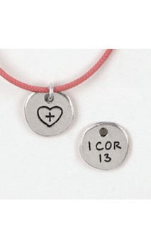 Heart with cross / 1 Cor 13 Necklace