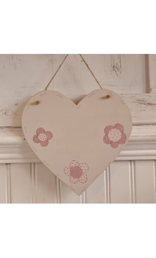 Lg Wooden Heart Blank plaque - Flowers