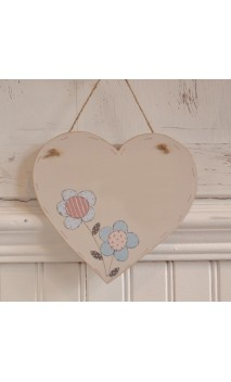 Md Wooden Heart Blank plaque - Large Flowers